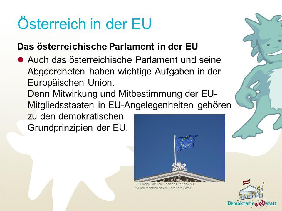 Österreich in der EU Das österreichische Parlament in der EU Auch das österreichische Parlament und seine Abgeordneten haben wichtige Aufgaben in der