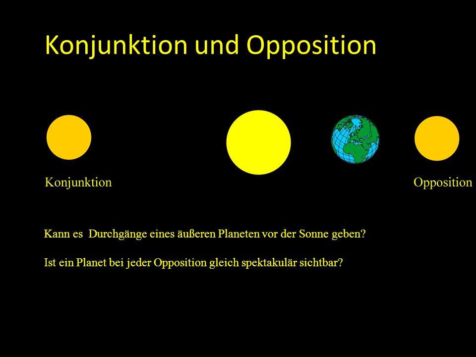 Konjunktion und Opposition Kann es Durchgänge eines äußeren Planeten vor der Sonne geben? Ist ein Planet bei jeder Opposition gleich spektakulär sicht