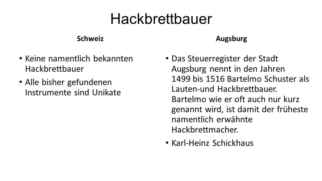 Hackbrettbauer Schweiz Keine namentlich bekannten Hackbrettbauer Alle bisher gefundenen Instrumente sind Unikate Augsburg Das Steuerregister der Stadt
