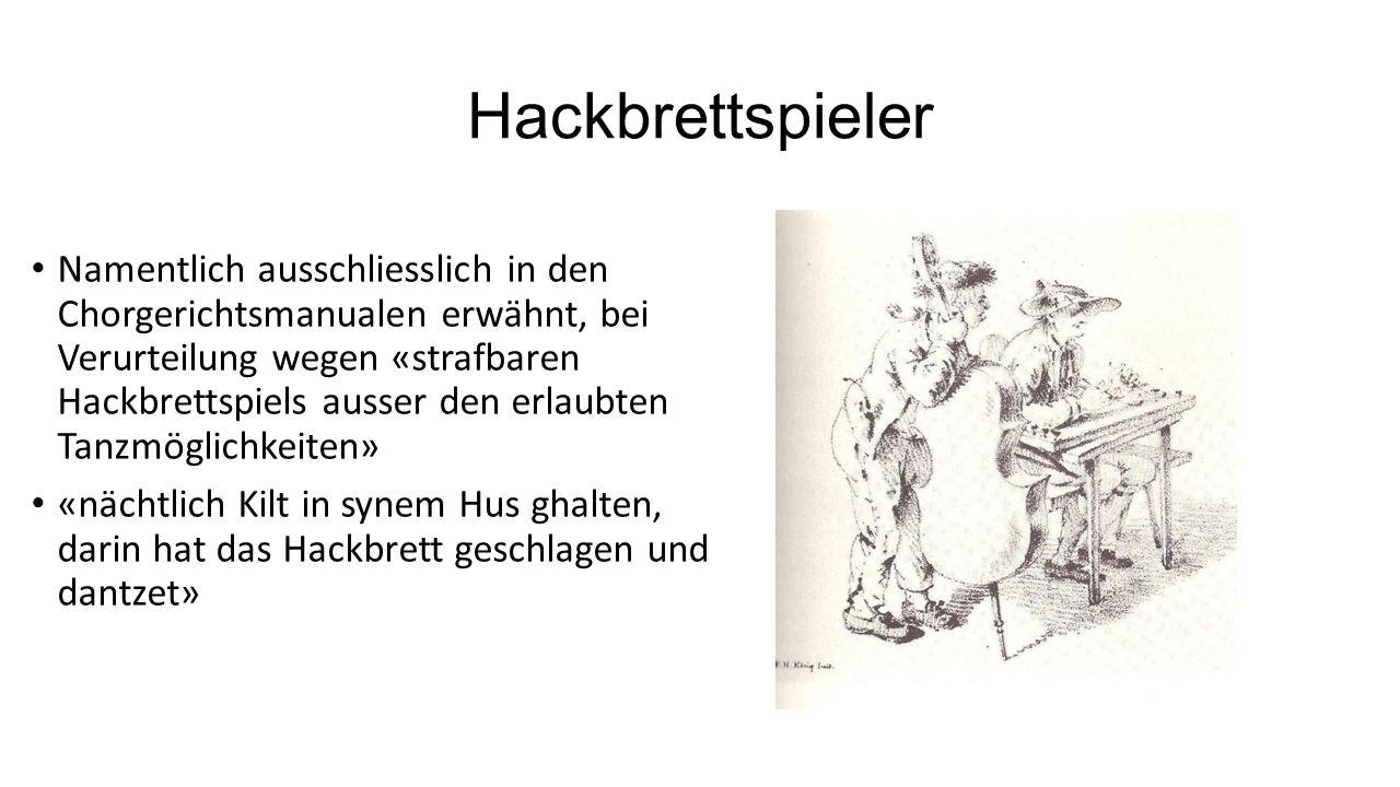 Hackbrettspieler Namentlich ausschliesslich in den Chorgerichtsmanualen erwähnt, bei Verurteilung wegen «strafbaren Hackbrettspiels ausser den erlaubt