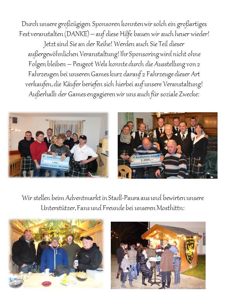 Wir stellen beim Adventmarkt in Stadl-Paura aus und bewirten unsere Unterstützer, Fans und Freunde bei unseren Mosthittn: Durch unsere großzügigen Sponsoren konnten wir solch ein großartiges Fest veranstalten (DANKE) – auf diese Hilfe bauen wir auch heuer wieder.