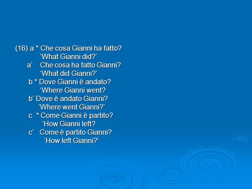 (16)a * Che cosa Gianni ha fatto? 'What Gianni did?' 'What Gianni did?' a' Che cosa ha fatto Gianni? a' Che cosa ha fatto Gianni? 'What did Gianni?' '