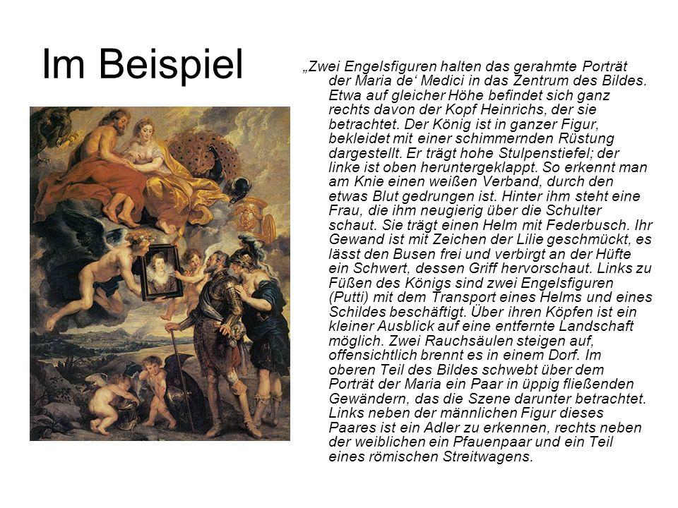 """Im Beispiel """"Zwei Engelsfiguren halten das gerahmte Porträt der Maria de' Medici in das Zentrum des Bildes. Etwa auf gleicher Höhe befindet sich ganz"""