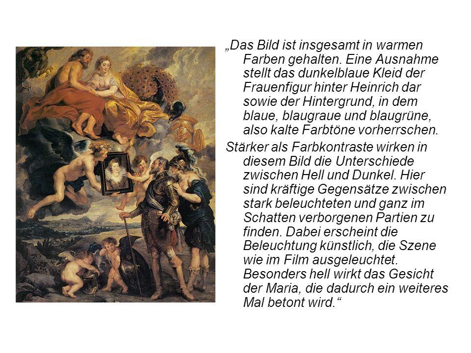 """""""Das Bild ist insgesamt in warmen Farben gehalten. Eine Ausnahme stellt das dunkelblaue Kleid der Frauenfigur hinter Heinrich dar sowie der Hintergrun"""
