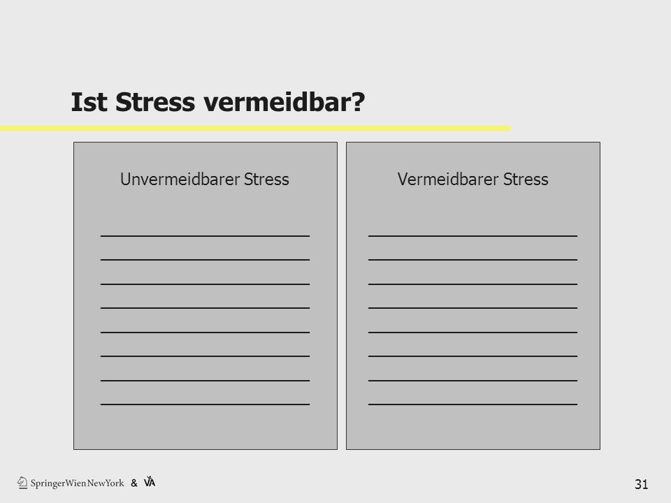Ist Stress vermeidbar? 31 Unvermeidbarer Stress _______________________ Vermeidbarer Stress _______________________