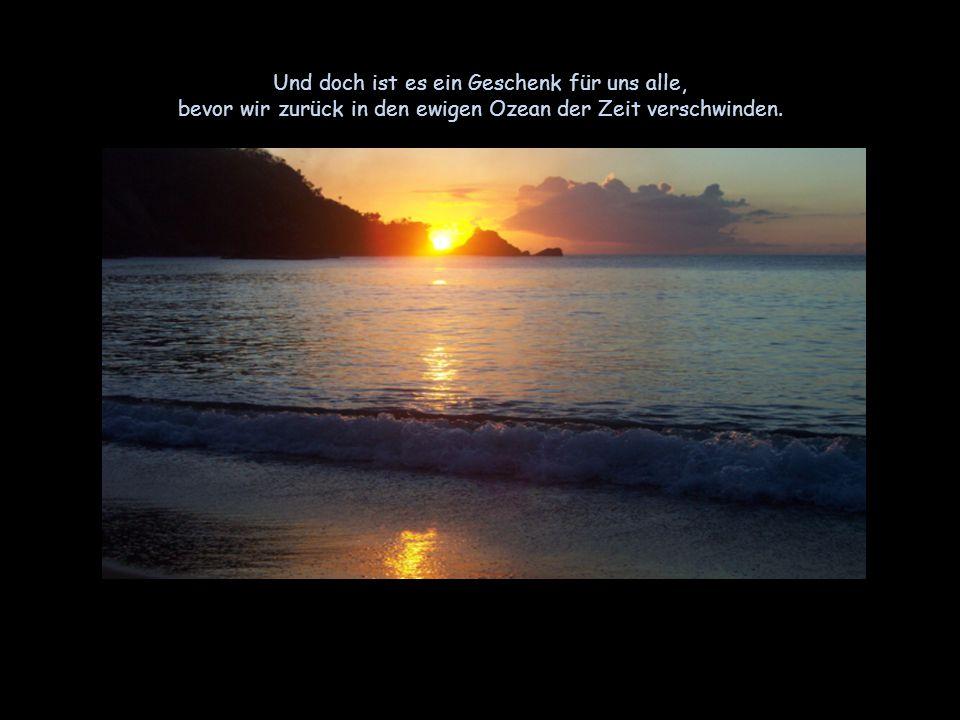 Und doch ist es ein Geschenk für uns alle, bevor wir zurück in den ewigen Ozean der Zeit verschwinden.