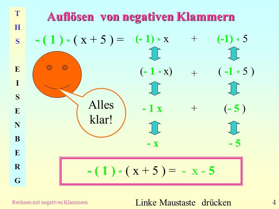 Auflösen von negativen Klammern THSEISENBERGTHSEISENBERG Rechnen mit negativen Klammern 5 -( x +5) = - x - 5 Linke Maustaste drücken Merke: Durch das – vor der Klammer werden die positiven Ausdrücke x und 5 negativ, denn......