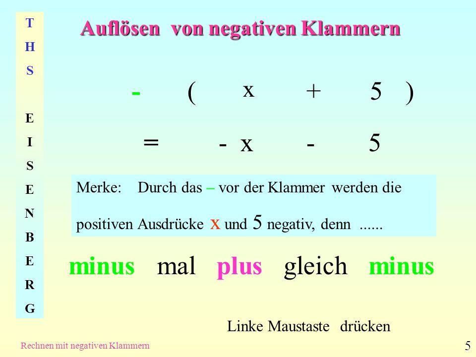 Auflösen von negativen Klammern THSEISENBERGTHSEISENBERG Rechnen mit negativen Klammern 5 -( x +5) = - x - 5 Linke Maustaste drücken Merke: Durch das