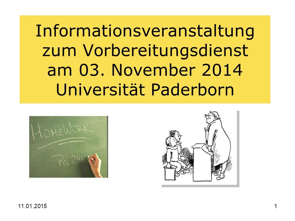 11.01.20151 Informationsveranstaltung zum Vorbereitungsdienst am 03.