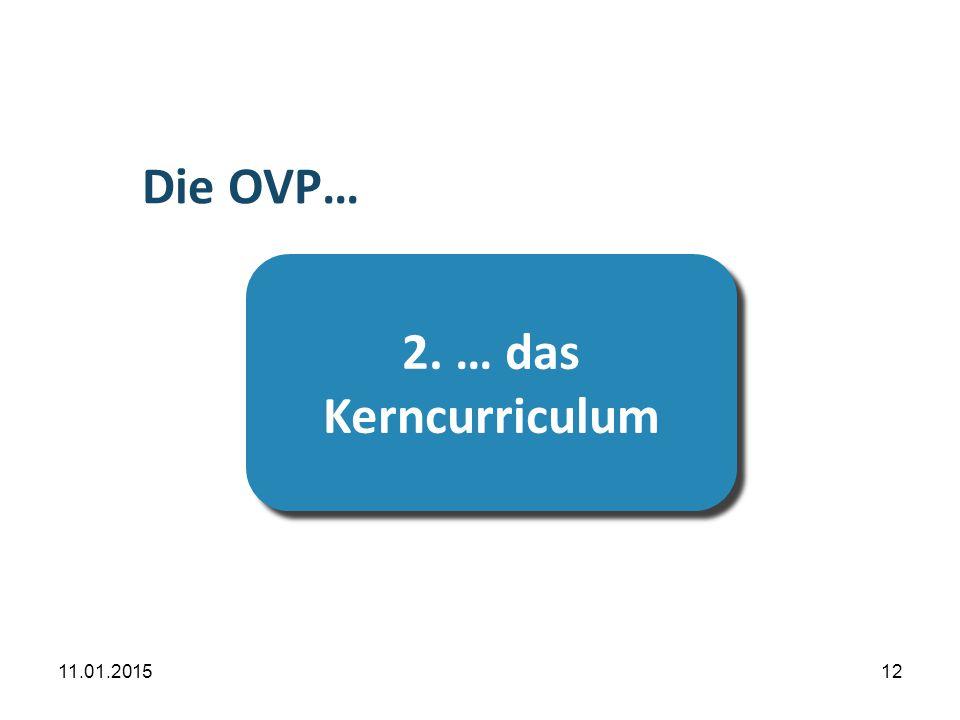 11.01.201512 Übersicht 2. … das Kerncurriculum 2. … das Kerncurriculum Die OVP…