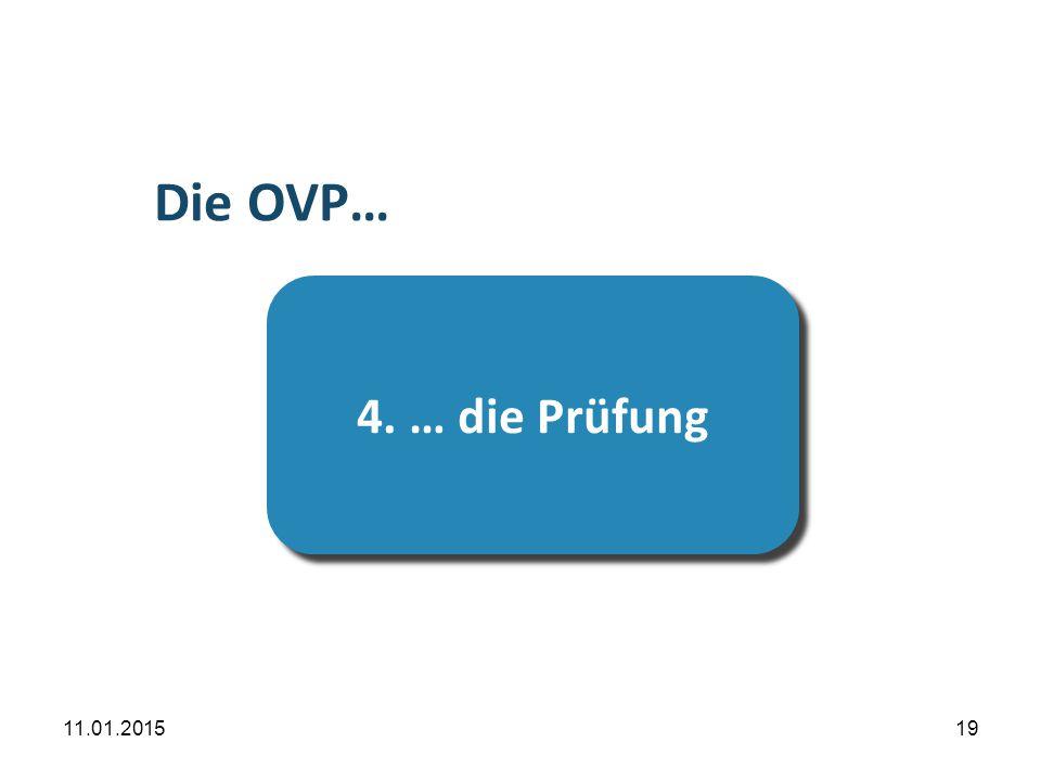 11.01.201519 …die Prüfung 4. … die Prüfung Die OVP…