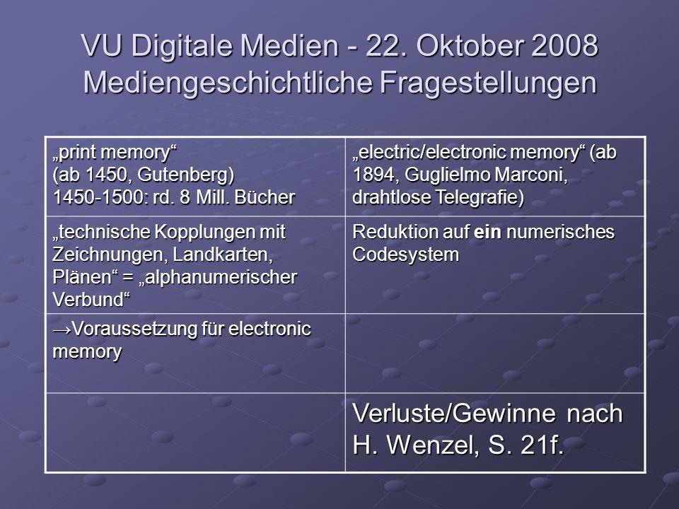 "VU Digitale Medien - 22. Oktober 2008 Mediengeschichtliche Fragestellungen ""print memory"" (ab 1450, Gutenberg) 1450-1500: rd. 8 Mill. Bücher ""electric"