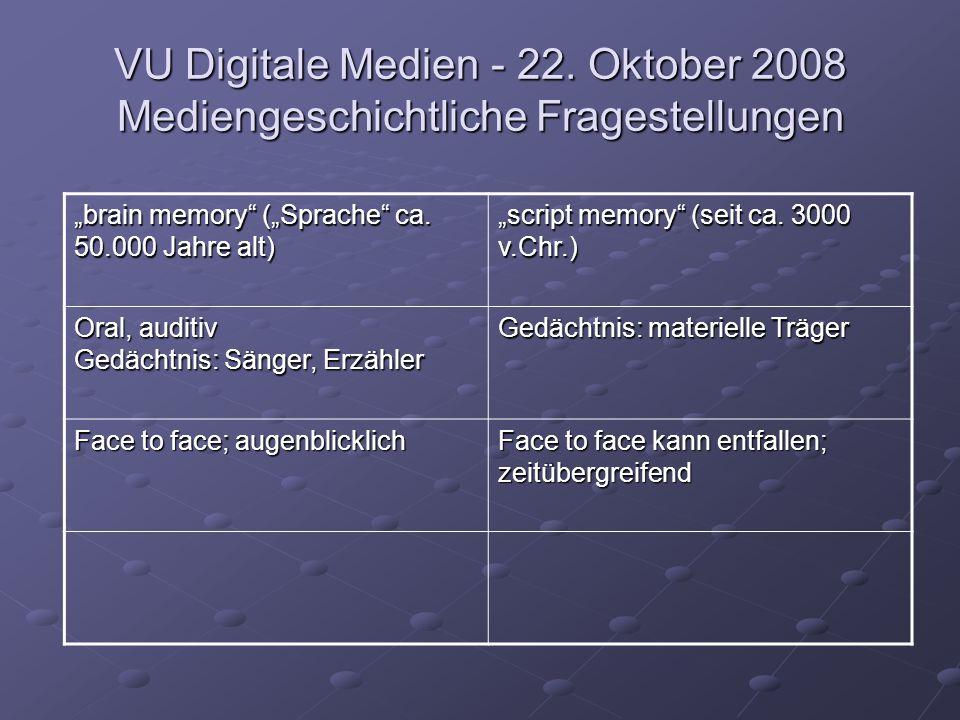 """VU Digitale Medien - 22. Oktober 2008 Mediengeschichtliche Fragestellungen """"brain memory"""" (""""Sprache"""" ca. 50.000 Jahre alt) """"script memory"""" (seit ca. 3"""