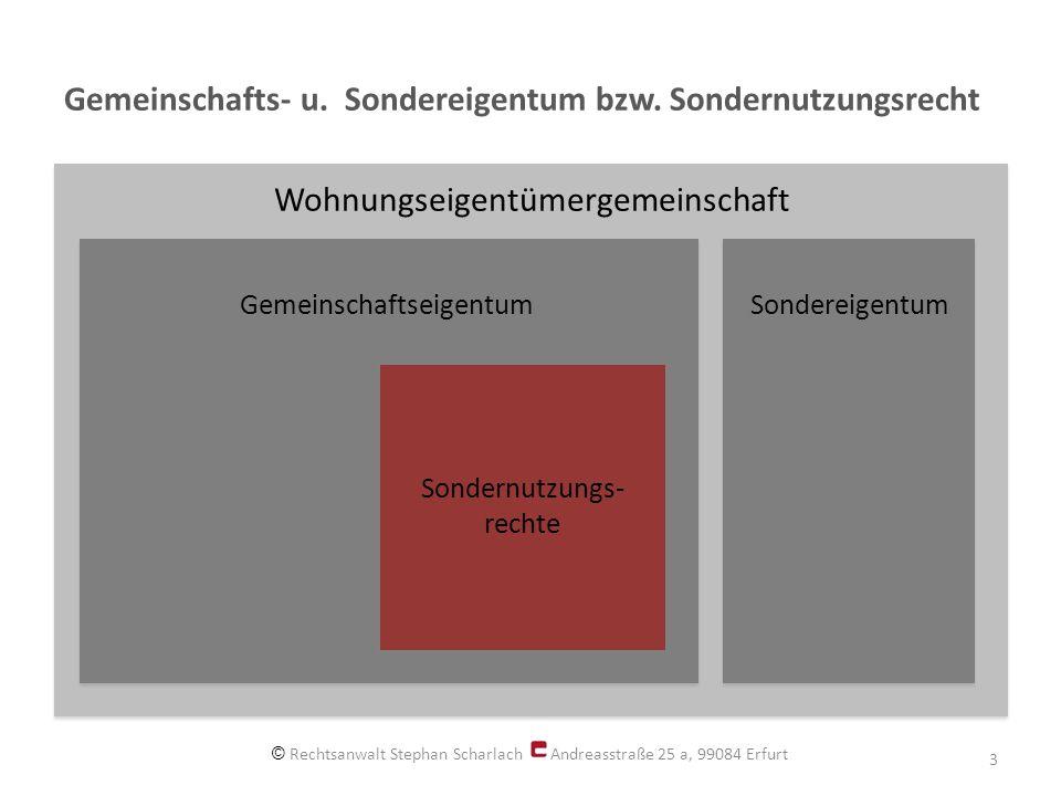 Gemeinschafts- u. Sondereigentum bzw. Sondernutzungsrecht © Rechtsanwalt Stephan Scharlach Andreasstraße 25 a, 99084 Erfurt 3 Wohnungseigentümergemein