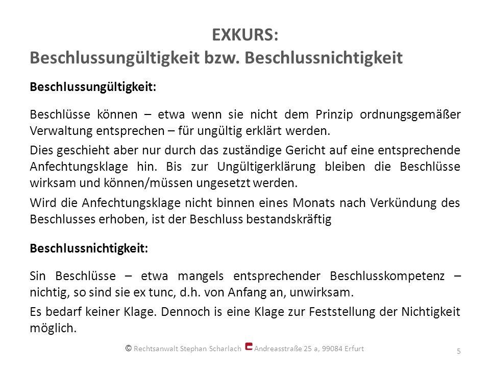 Nichtigkeit von Beschlüssen zur Berufung im Anfechtungsprozess Amtsgericht Erfurt - 2 C (WEG) 46/12: Ein in einer Eigentümerversammlung gefasster Beschluss, wonach gegen ein Urteil, ausweislich dessen ein Beschluss für ungültig erklärt wurde, Berufung eingelegt werden soll ist nichtig.