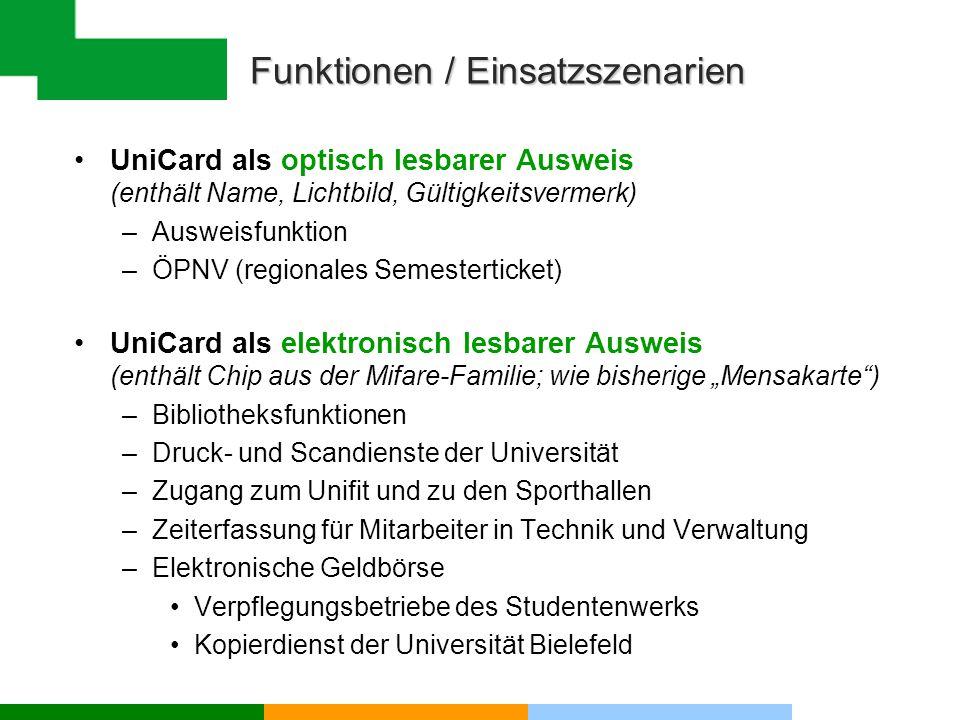 Funktionen / Einsatzszenarien UniCard als optisch lesbarer Ausweis (enthält Name, Lichtbild, Gültigkeitsvermerk) –Ausweisfunktion –ÖPNV (regionales Se