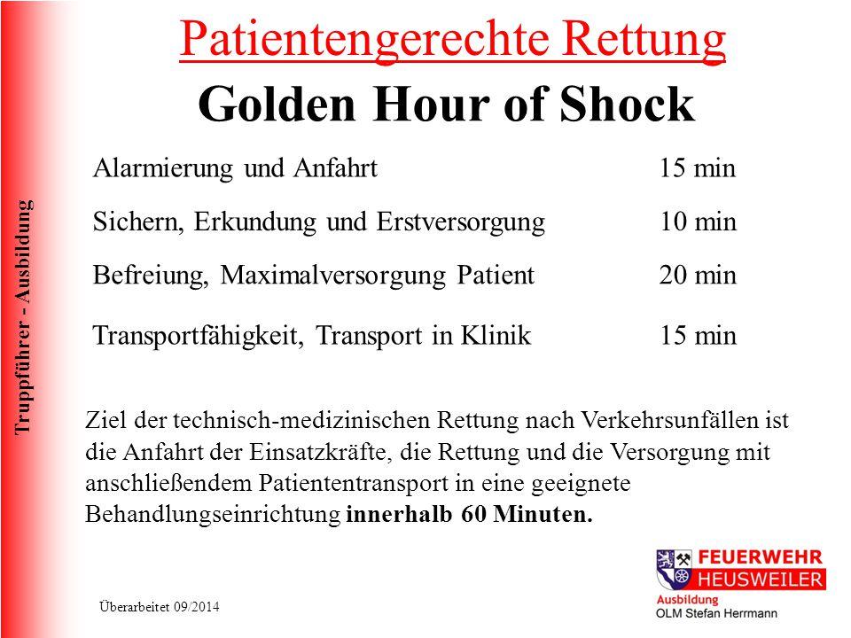 Truppführer - Ausbildung Überarbeitet 09/2014 Golden Hour of Shock Alarmierung und Anfahrt 15 min Sichern, Erkundung und Erstversorgung10 min Befreiun