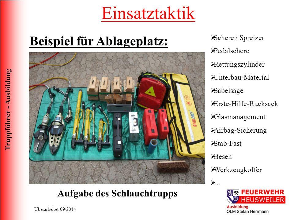 Truppführer - Ausbildung Überarbeitet 09/2014 Einsatztaktik Beispiel für Ablageplatz:  Schere / Spreizer  Pedalschere  Rettungszylinder  Unterbau-