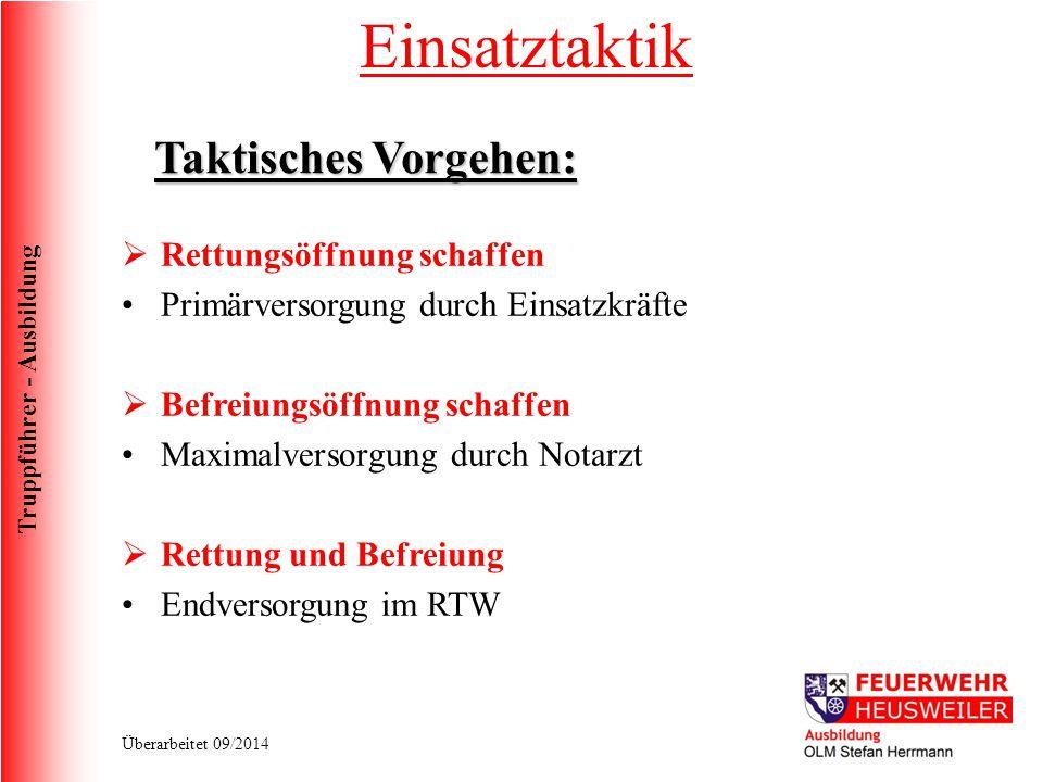 Truppführer - Ausbildung Überarbeitet 09/2014 Taktisches Vorgehen:  Rettungsöffnung schaffen Primärversorgung durch Einsatzkräfte  Befreiungsöffnung