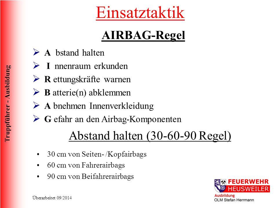 Truppführer - Ausbildung Überarbeitet 09/2014 Einsatztaktik AIRBAG-Regel  A bstand halten  I nnenraum erkunden  R ettungskräfte warnen  B atterie(
