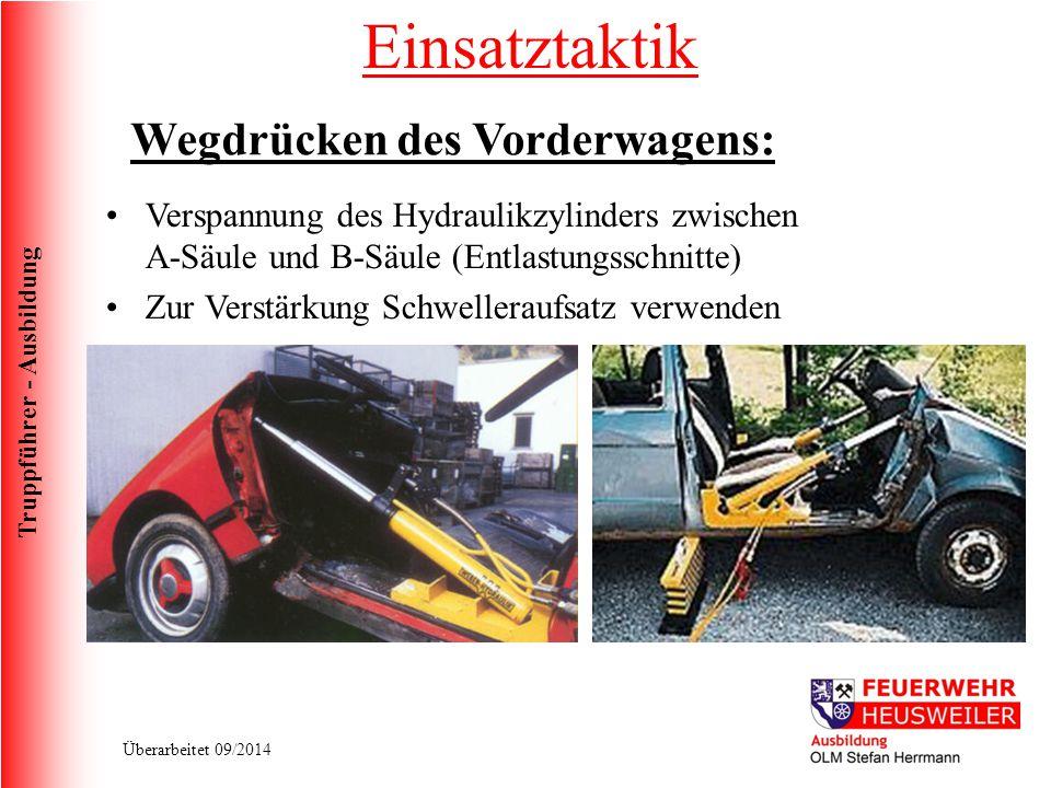Truppführer - Ausbildung Überarbeitet 09/2014 Verspannung des Hydraulikzylinders zwischen A-Säule und B-Säule (Entlastungsschnitte) Zur Verstärkung Sc