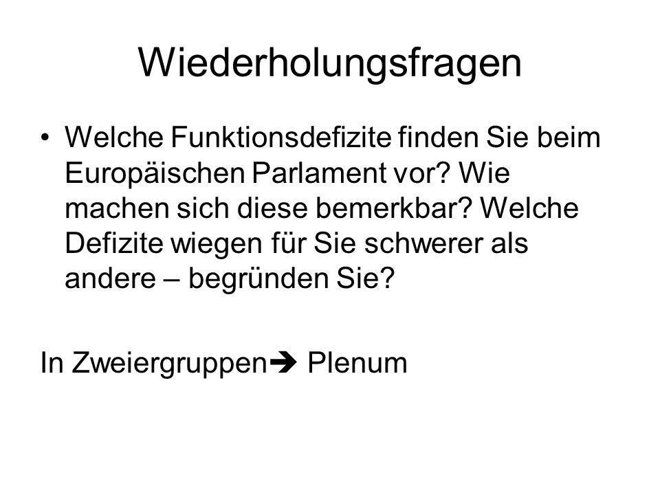 Wiederholungsfragen Welche Funktionsdefizite finden Sie beim Europäischen Parlament vor.