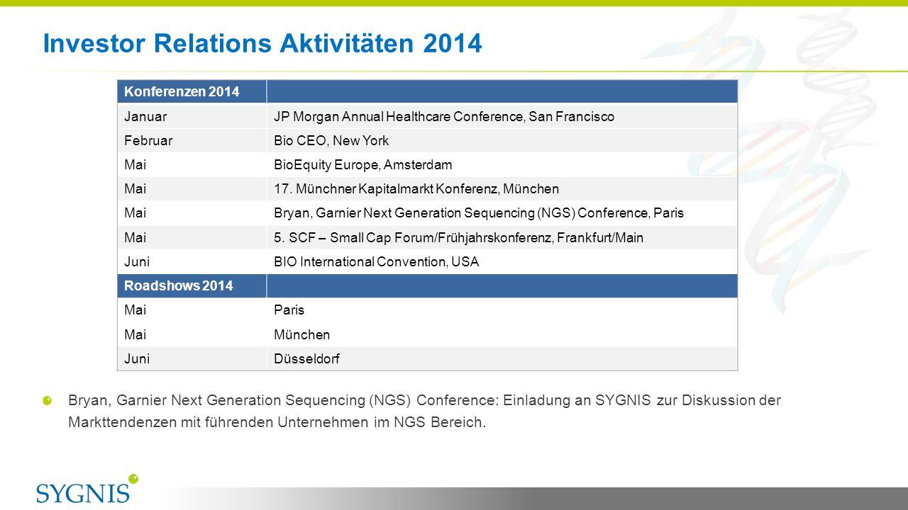 Investor Relations Aktivitäten 2014 10 Bryan, Garnier Next Generation Sequencing (NGS) Conference: Einladung an SYGNIS zur Diskussion der Markttendenz