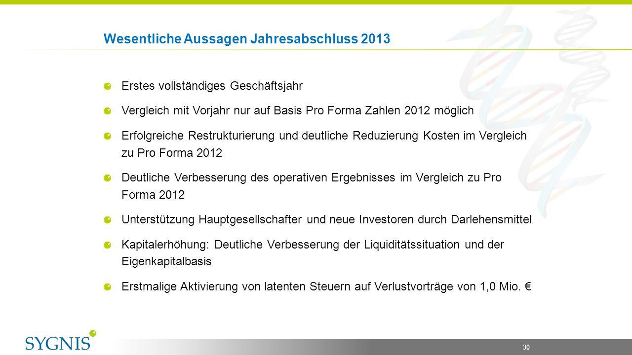 30 Wesentliche Aussagen Jahresabschluss 2013 Erstes vollständiges Geschäftsjahr Vergleich mit Vorjahr nur auf Basis Pro Forma Zahlen 2012 möglich Erfo