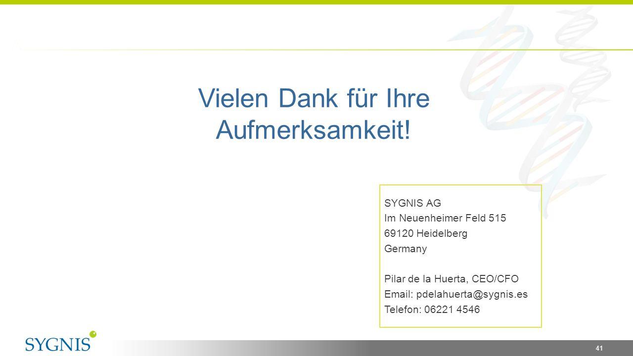41 Vielen Dank für Ihre Aufmerksamkeit! SYGNIS AG Im Neuenheimer Feld 515 69120 Heidelberg Germany Pilar de la Huerta, CEO/CFO Email: pdelahuerta@sygn