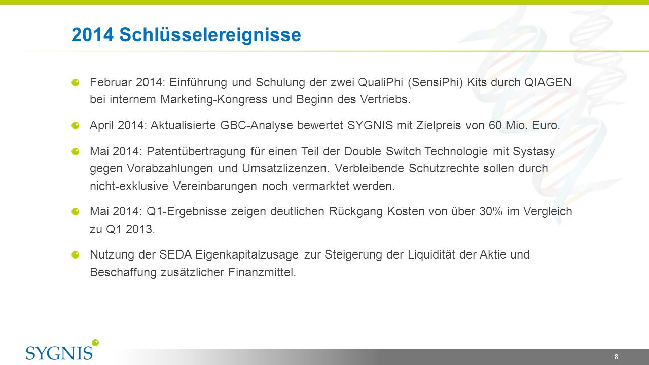 8 Februar 2014: Einführung und Schulung der zwei QualiPhi (SensiPhi) Kits durch QIAGEN bei internem Marketing-Kongress und Beginn des Vertriebs. April