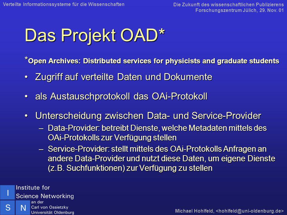 Das Projekt OAD* * Open Archives: Distributed services for physicists and graduate students Zugriff auf verteilte Daten und DokumenteZugriff auf verteilte Daten und Dokumente als Austauschprotokoll das OAi-Protokollals Austauschprotokoll das OAi-Protokoll Unterscheidung zwischen Data- und Service-ProviderUnterscheidung zwischen Data- und Service-Provider –Data-Provider: betreibt Dienste, welche Metadaten mittels des OAi-Protokolls zur Verfügung stellen –Service-Provider: stellt mittels des OAi-Protokolls Anfragen an andere Data-Provider und nutzt diese Daten, um eigene Dienste (z.B.