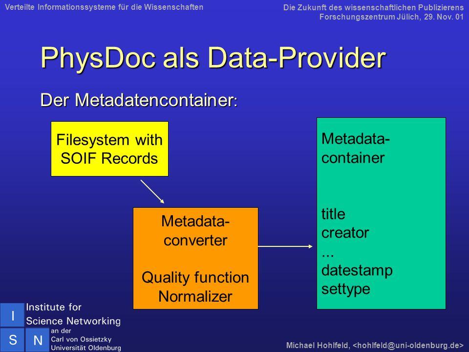 PhysDoc als Data-Provider Der Metadatencontainer : Die Zukunft des wissenschaftlichen Publizierens Forschungszentrum Jülich, 29. Nov. 01 Michael Hohlf