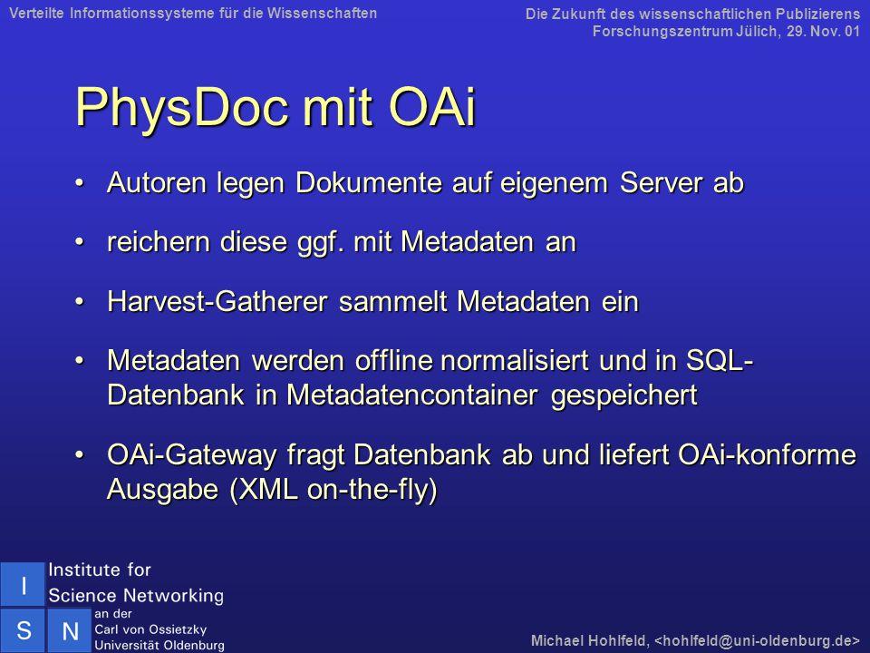PhysDoc mit OAi Autoren legen Dokumente auf eigenem Server abAutoren legen Dokumente auf eigenem Server ab reichern diese ggf.
