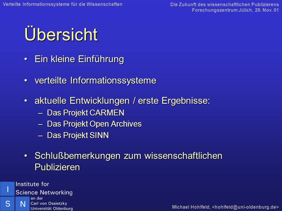 Weitere Informationen Institute for Science NetworkingInstitute for Science Networking<www.isn-oldenburg.de> Projekt CARMENProjekt CARMEN<www.mathematik.uni-osnabrueck.de/projects/CARMEN> Projekt Open Archives distributed (OAD)Projekt Open Archives distributed (OAD)<www.isn-oldenburg.de/projects/OAD> Projekt SINNProjekt SINN<www.isn-oldenburg.de/projects/SINN> Die Zukunft des wissenschaftlichen Publizierens Forschungszentrum Jülich, 29.
