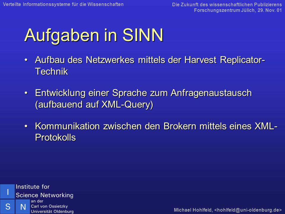 Aufgaben in SINN Aufbau des Netzwerkes mittels der Harvest Replicator- TechnikAufbau des Netzwerkes mittels der Harvest Replicator- Technik Entwicklun