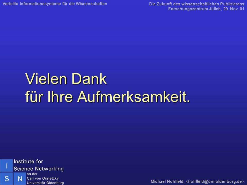 Vielen Dank für Ihre Aufmerksamkeit. Die Zukunft des wissenschaftlichen Publizierens Forschungszentrum Jülich, 29. Nov. 01 Michael Hohlfeld, Verteilte