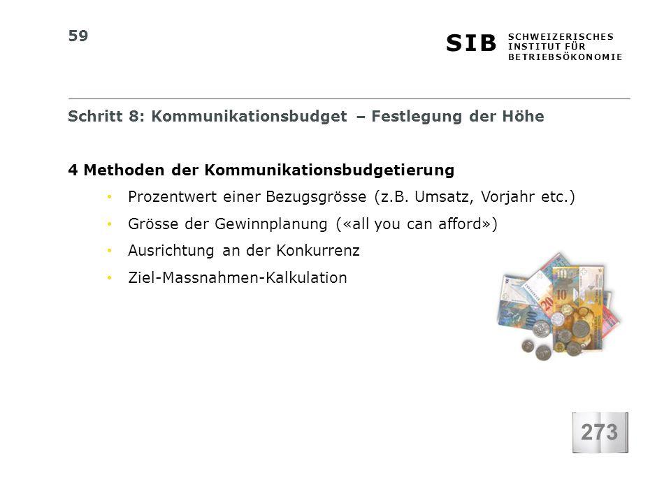 59 S I BS I B S C H W E I Z E R I S C H E S I N S T I T U T F Ü R B E T R I E B S Ö K O N O M I E Schritt 8: Kommunikationsbudget – Festlegung der Höh