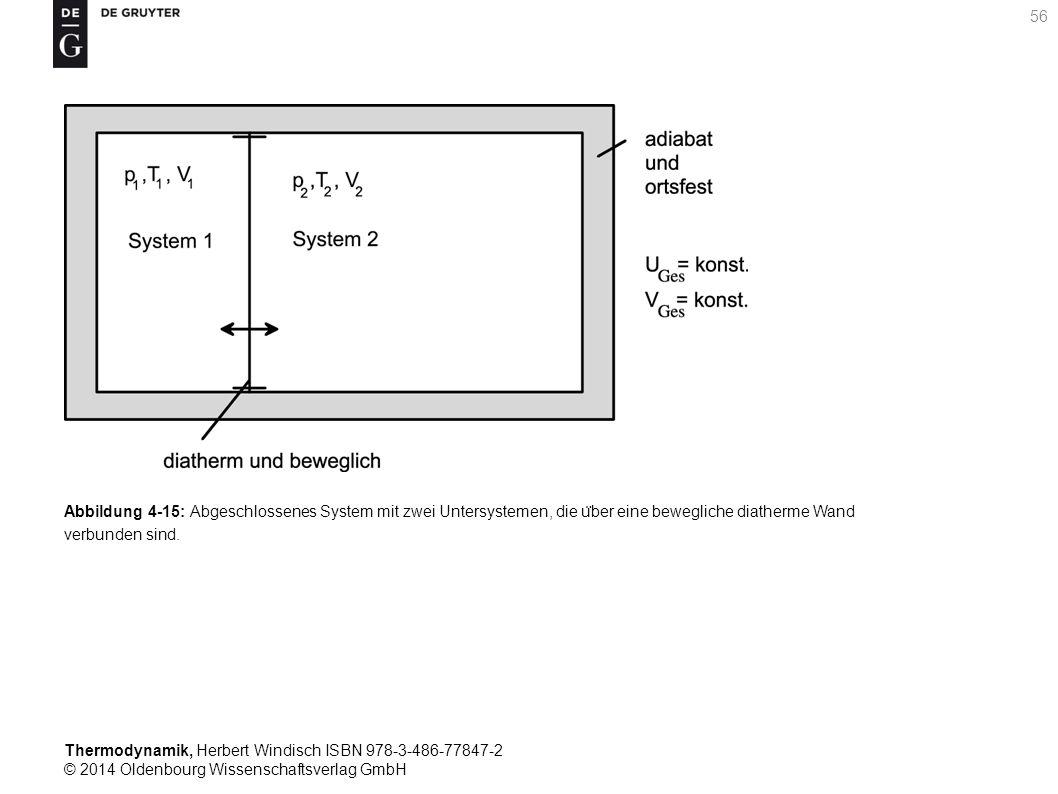 Thermodynamik, Herbert Windisch ISBN 978-3-486-77847-2 © 2014 Oldenbourg Wissenschaftsverlag GmbH 56 Abbildung 4-15: Abgeschlossenes System mit zwei Untersystemen, die u ̈ ber eine bewegliche diatherme Wand verbunden sind.