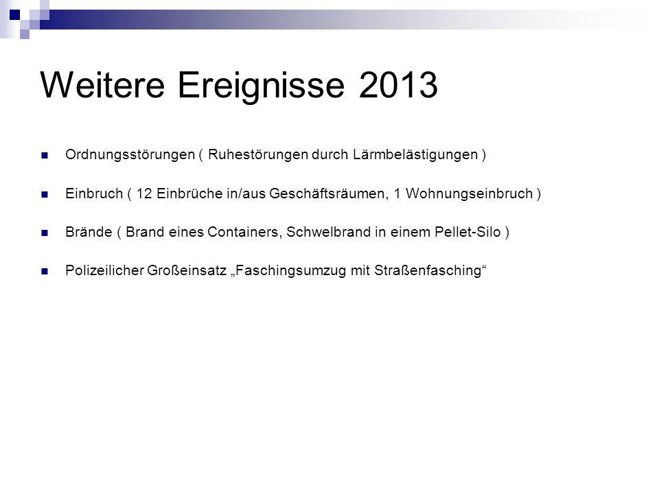 Weitere Ereignisse 2013 Ordnungsstörungen ( Ruhestörungen durch Lärmbelästigungen ) Einbruch ( 12 Einbrüche in/aus Geschäftsräumen, 1 Wohnungseinbruch