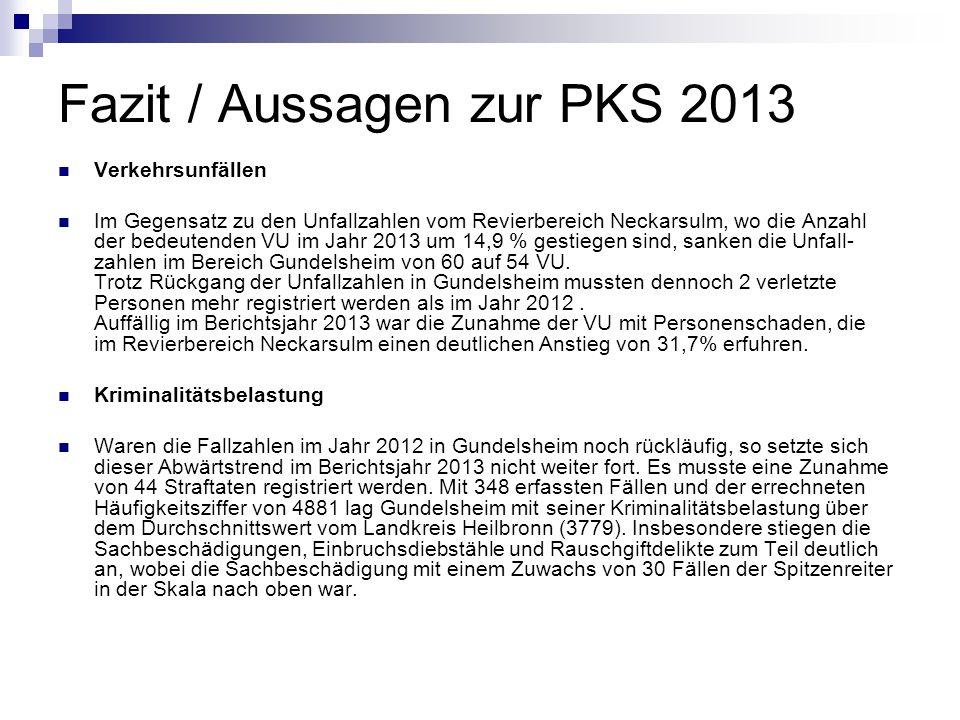 Fazit / Aussagen zur PKS 2013 Verkehrsunfällen Im Gegensatz zu den Unfallzahlen vom Revierbereich Neckarsulm, wo die Anzahl der bedeutenden VU im Jahr 2013 um 14,9 % gestiegen sind, sanken die Unfall- zahlen im Bereich Gundelsheim von 60 auf 54 VU.