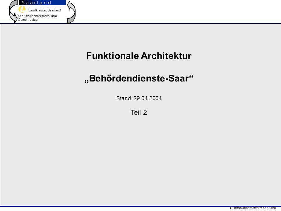 """Landkreistag Saarland Saarländischer Städte- und Gemeindetag IT-Innovationszentrum Saarland Funktionale Architektur """"Behördendienste-Saar Stand: 29.04.2004 Teil 2"""