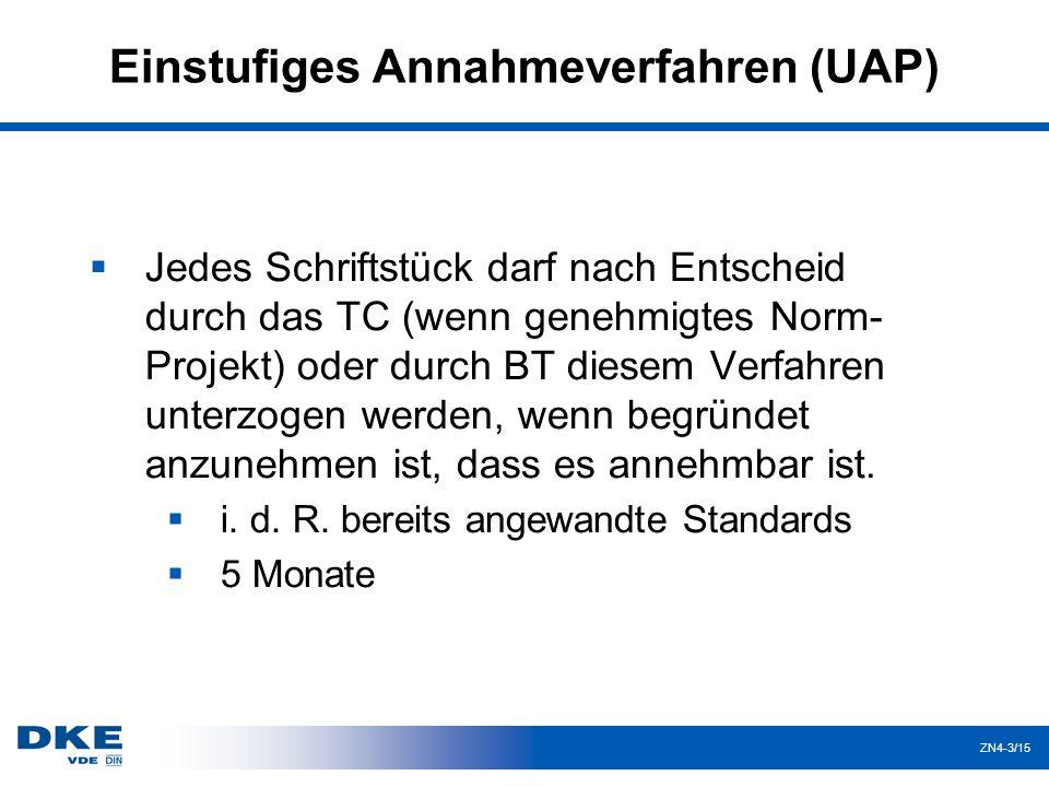 ZN4-3/15 Einstufiges Annahmeverfahren (UAP)  Jedes Schriftstück darf nach Entscheid durch das TC (wenn genehmigtes Norm- Projekt) oder durch BT diesem Verfahren unterzogen werden, wenn begründet anzunehmen ist, dass es annehmbar ist.