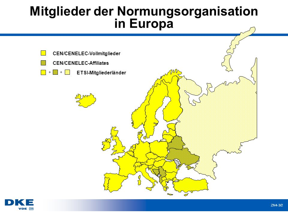 ZN4-3/23 Gewichtete Abstimmung bei CENELEC 405 Stimmen; 71 % = 288 Stimmen; Sperrminorität: 117