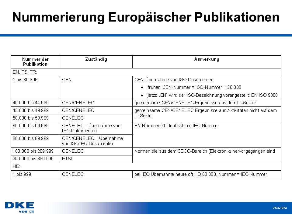 ZN4-3/24 Nummerierung Europäischer Publikationen