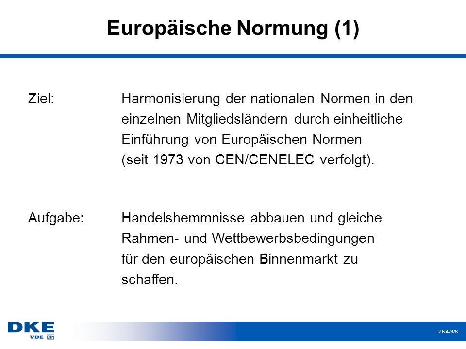 ZN4-3/17 CENELEC - Normungsbegriffe Stillhalteverpflichtung Beginn: vom BT-genehmigtes CLC-Norm-Projekt Keine nationalen Normungen, die nicht vollständig mit einer existierenden EN/HD übereinstimmen.