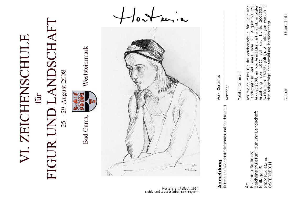 """Hortensia: """"Pallas , 1994 Kohle und Wasserfarbe, 48 x 64,4cm Anmeldung (bitte diesen Abschnitt abtrennen und abschicken !) An Fr."""