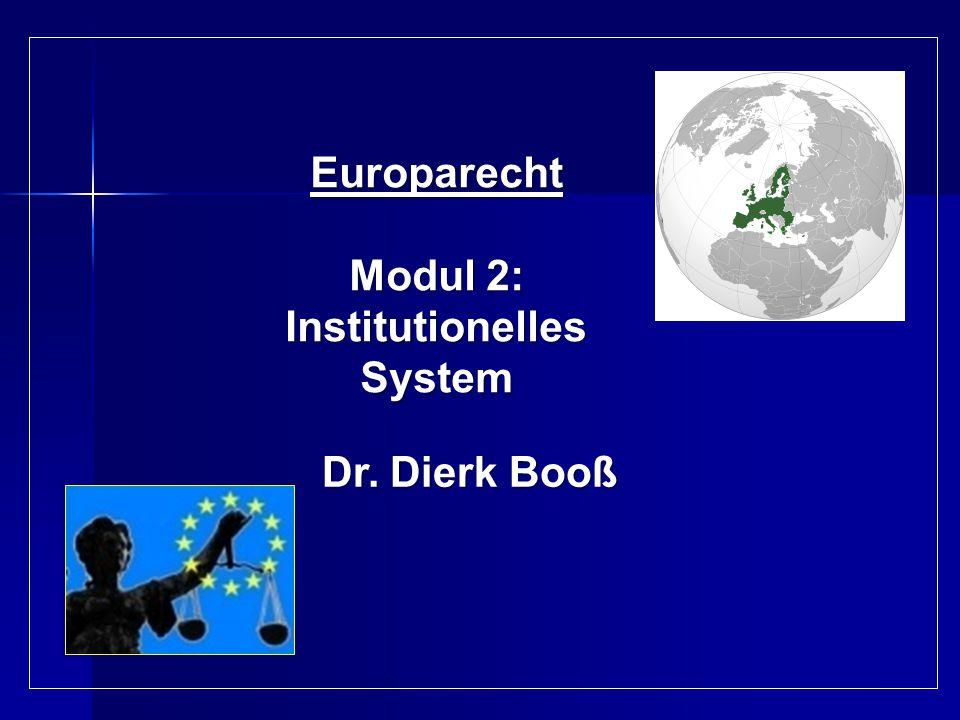 Europarecht Modul 2: InstitutionellesSystem Dr. Dierk Booß Dr. Dierk Booß