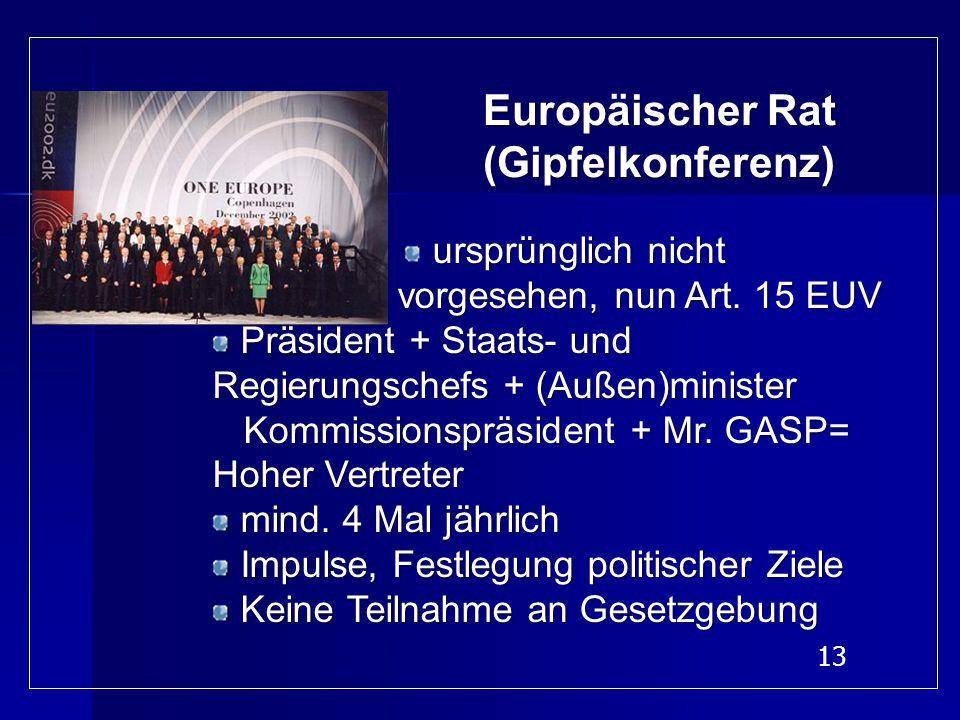 13 Europäischer Rat (Gipfelkonferenz) ursprünglich nicht vorgesehen, nun Art. 15 EUV vorgesehen, nun Art. 15 EUV Präsident + Staats- und Regierungsche