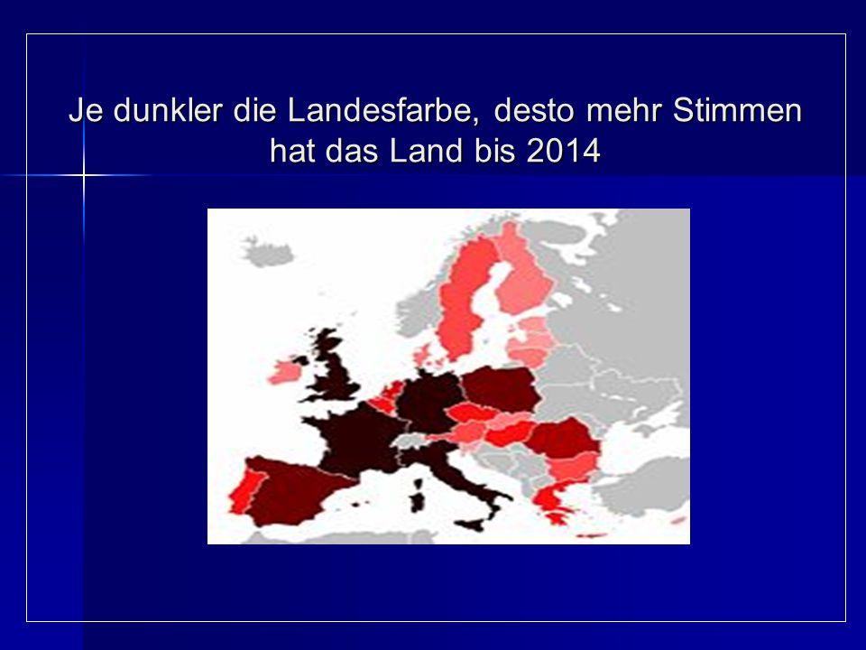 Je dunkler die Landesfarbe, desto mehr Stimmen hat das Land bis 2014 Je dunkler die Landesfarbe, desto mehr Stimmen hat das Land bis 2014