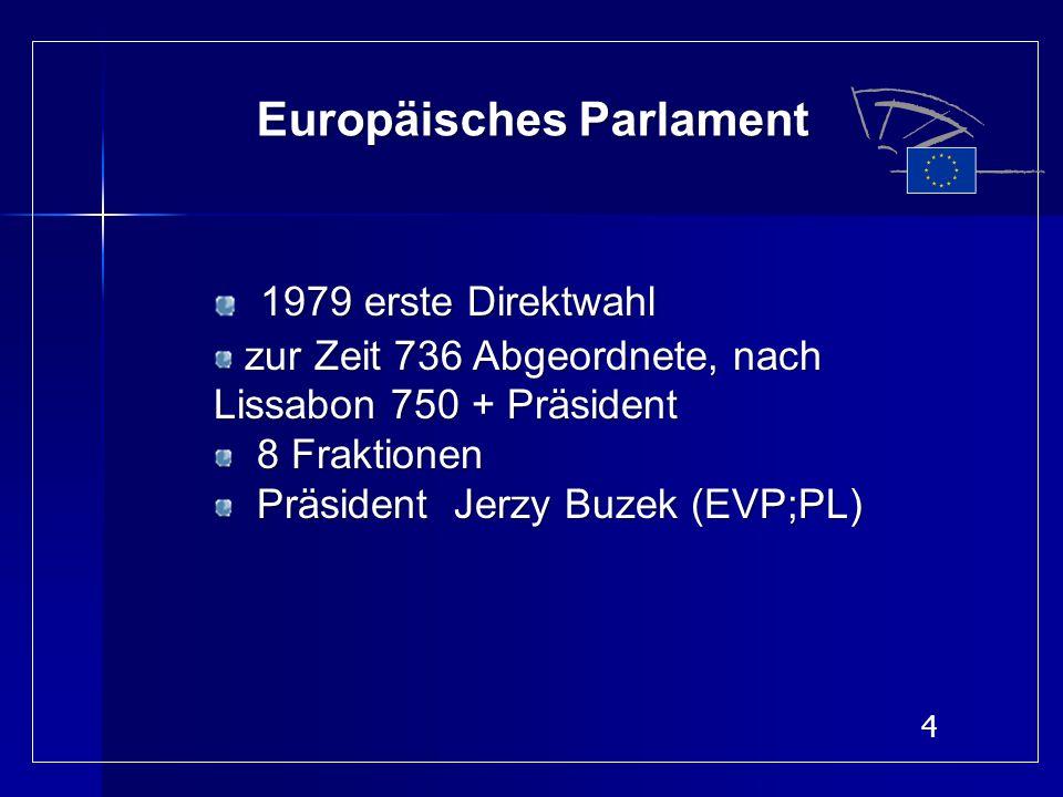 4 Europäisches Parlament 1979 erste Direktwahl zur Zeit 736 Abgeordnete, nach Lissabon 750 + Präsident zur Zeit 736 Abgeordnete, nach Lissabon 750 + P